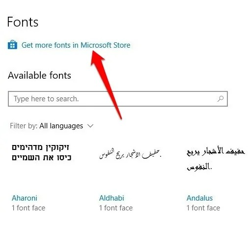 Get more fonts in Microsoft Store