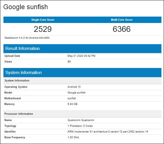 گوگل پیکسل 4 ای در تست GeekBench