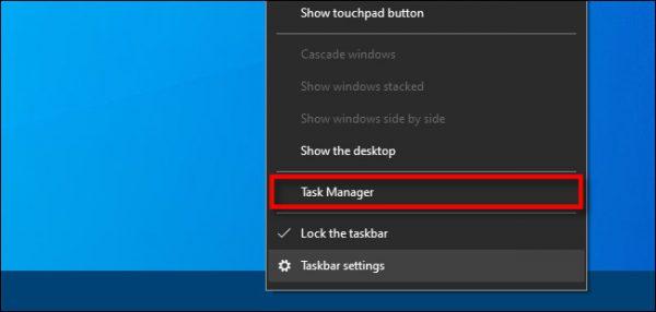 باز کردن Task Manager