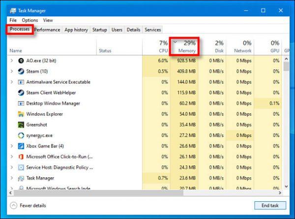 ستون Memory در Task Manager