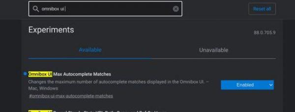 Omnibox UI Max Autocomplete Matches