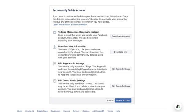 حذف اکانت فیس بوک 2