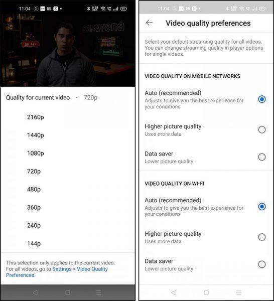تنظیمات پیش فرض یوتیوب
