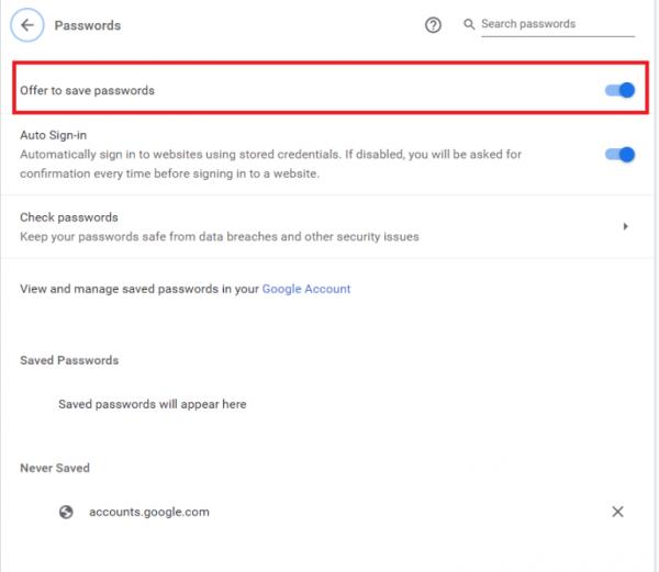 فعال کردن پیشنهاد ذخیره پسوورد در گوگل کروم