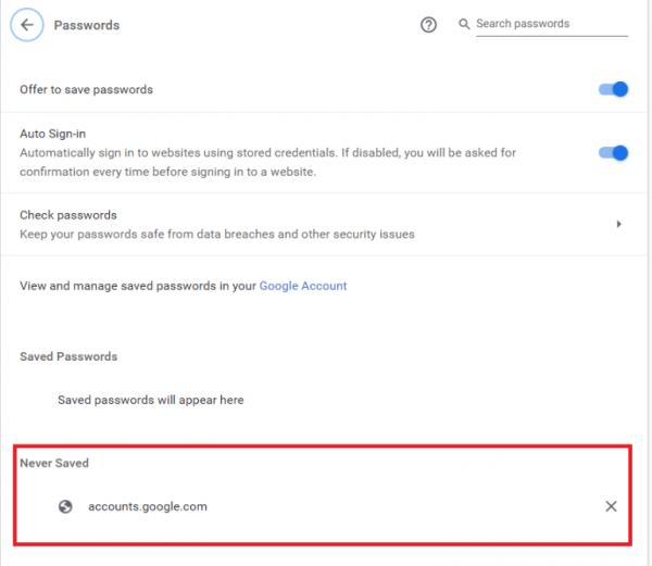 وبسایتهایی که پسووردشان در گوگل ذخیره نمیگردد
