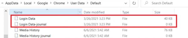 فایلهای مربوط به پسووردهای گوگل کروم