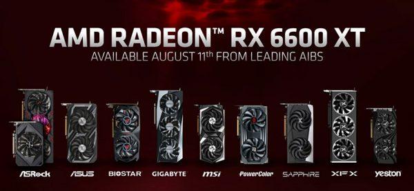 تولید کننده های رادئون RX 6600 XT